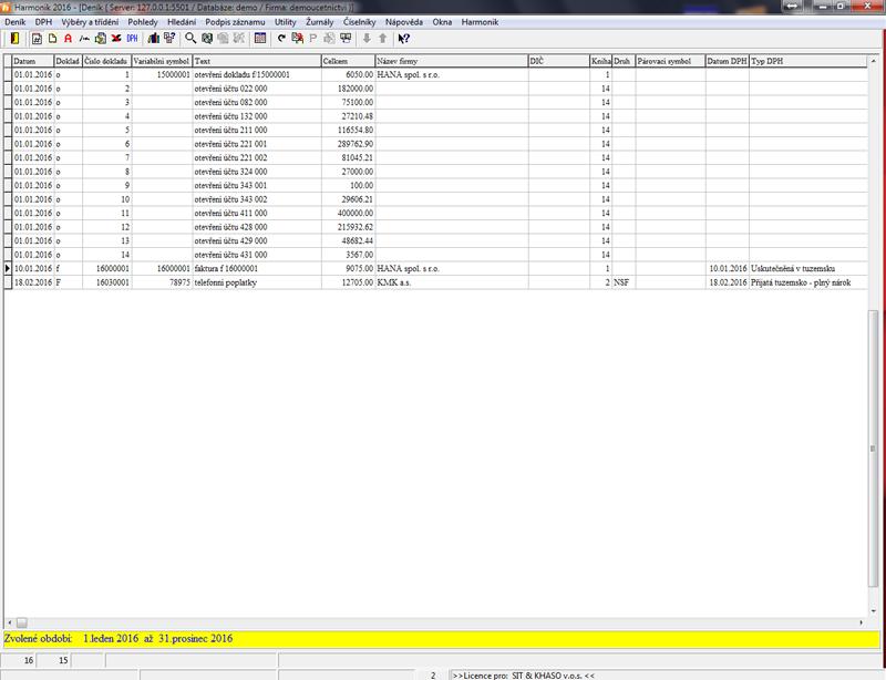 Seznam položek účetního deníku