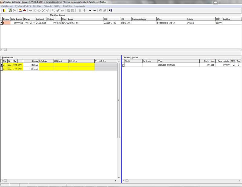 Detail modulu Zaúčtování dokladů