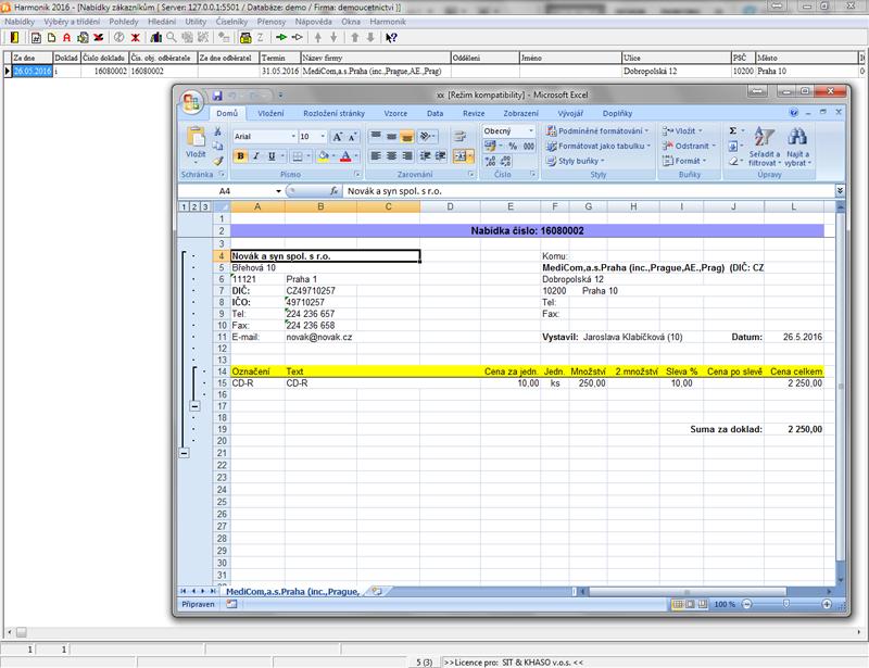 Sestava v Excelu připravené nabídky