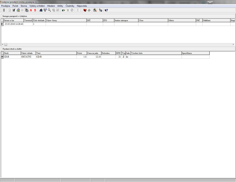 Seznam položek v Archivu paragonů