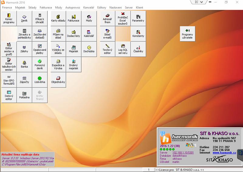 Základní obrazovka a pracovní plocha účetního a ekonomického software