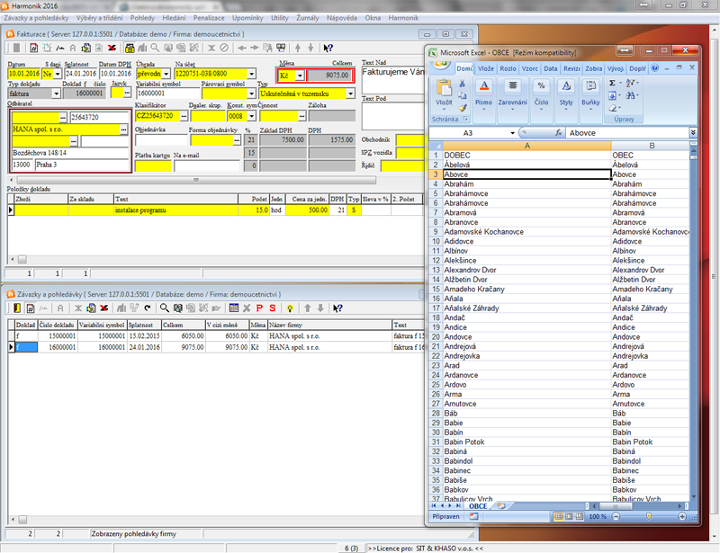Modální okna Deník, Fakturace, Excel